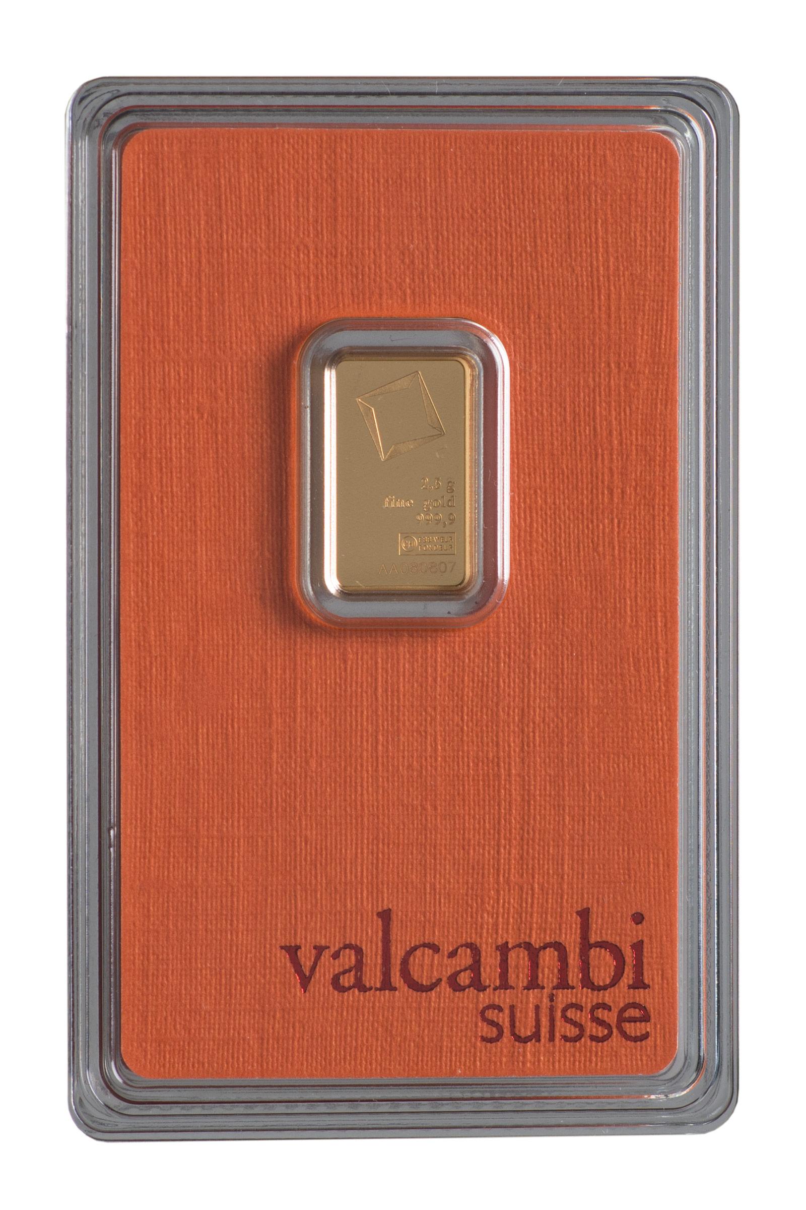 Złota sztabka Valcambi (2,5 g)