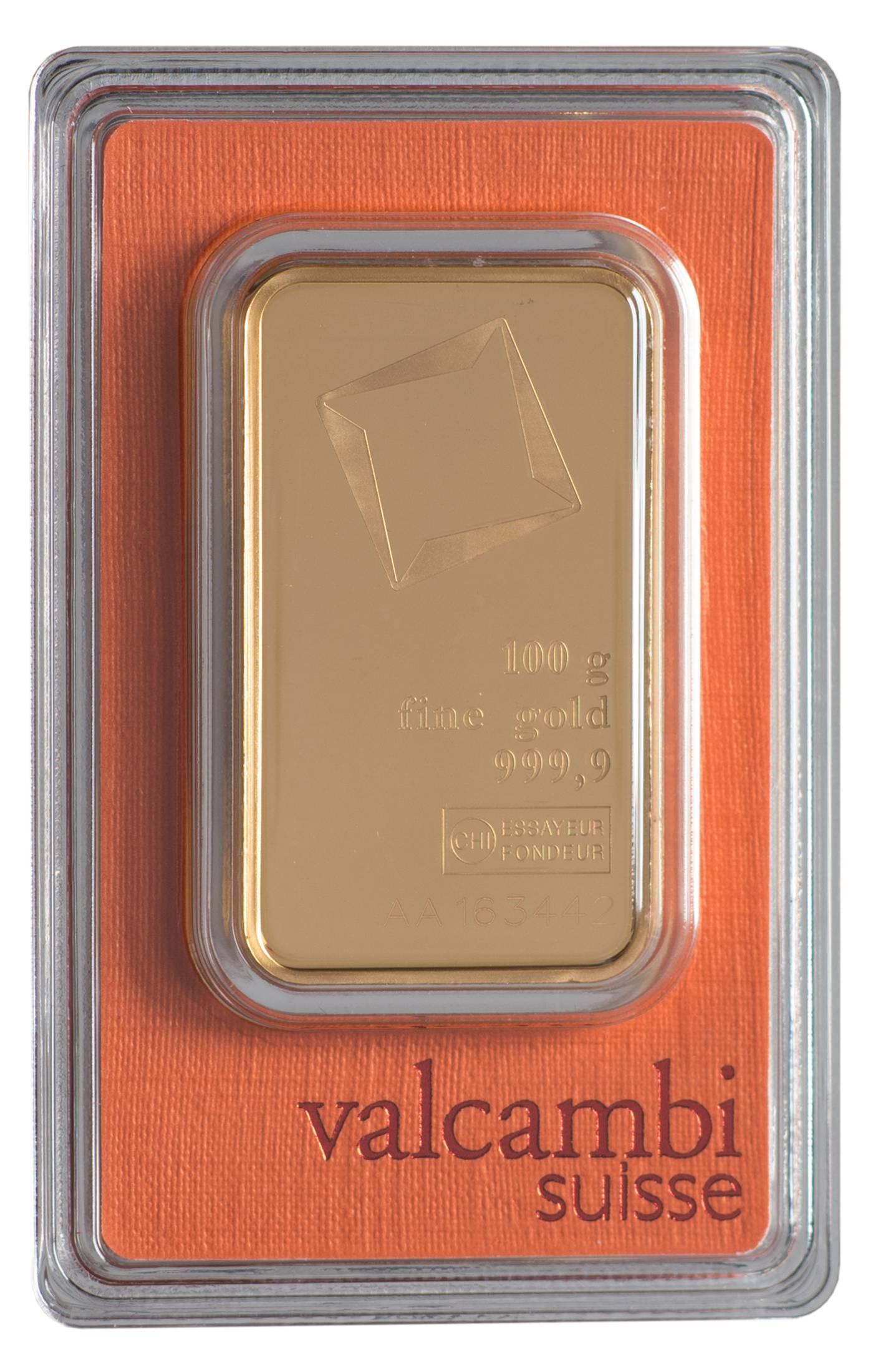 Złota sztabka Valcambi (100 g)